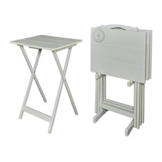"32"" Compass Tray Table Set, Gray"