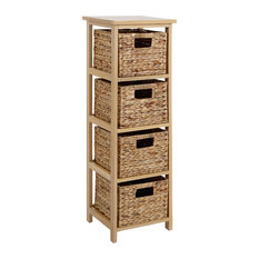 Premier Housewares - Natural Storage Unit With 4 Baskets - Chests of Drawers