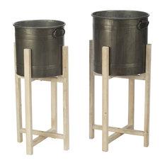 Rnd Smoke Tin/Wd Buckets, Set of 2