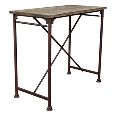 Dixon Vintage Rectangular Bar Table With Weathered Gray Top