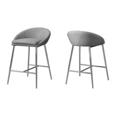 Gray Fabric Stools With Chrome Base, Set of 2, Bar Height