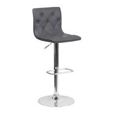 flash furniture tufted vinyl adjustable bar stool with chrome base gray bar stools