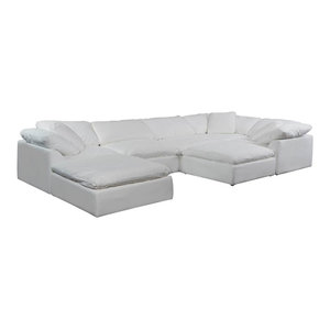7-Pc Slipcovered Modular Sectional Sofa with Ottomans | Performance Fabric White