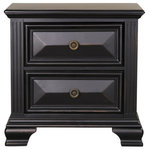 Emma Mason Signature - Emma Mason Signature Saunders 2-Drawer Nightstand in Vintage Black - Emma Mason Signature Saunders 2-Drawer Nightstand in Vintage Black Saunders Bedroom Collection has a sense of regal refinement with an air of vintage d&eacutej&agrave vu. Its boldly stated classical elements are paired with a worn through black finish and trimmed with lovely rosette knobs in an old brass patina.