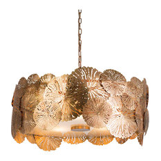 Modern Brass Gold Lily Pad Pendant Light | Chandelier Organic Botanical Round