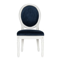 Holloway French Brasserie Oval Side Chairs, Set of 2, Navy Velvet, Cream