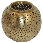Badia Design Inc. - Moroccan Hand-Punched Brass Candle Holder, Small - Moroccan Hand Punched Brass Candle Holder