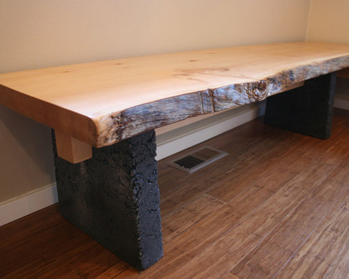 Spruce and concrete table and bench set - Indoor Benches & Spruce and concrete table and bench set