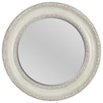 Foremost Groups Inc. - Round Decorative Mirror, Antique White - This symmetrical mirror integrates an inner and outer decorative molding, antique white finish, and beveled glass to accomplish its simplicity and craft. This mirror pairs perfectly with everyday furniture and will definitely be your new favorite home accessory.