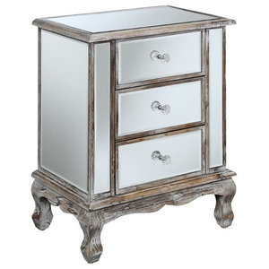 Pemberly Row 3-Drawer Mirrored End Table