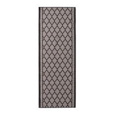 Machine Washable Mosaic Non Slip Runner, Midnight Black, 2x10