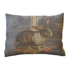 "Chalkboard Rabbit Burlap Pillow, 12""x16"""