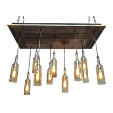 11 Wine Bottle Chandelier With Reclaimed Wood, Suspended, With Bulbs