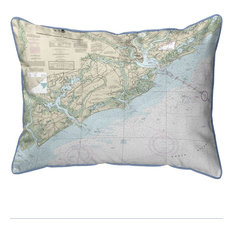 "Betsy Drake Charleston Harbor, Approaches, SC Nautical Map Large Pillow, 20""x24"""