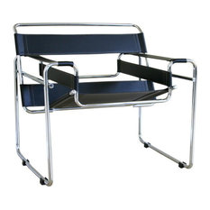 Baxton Studio Jericho Tan Leather Mid-Century Modern Accent Chair Black
