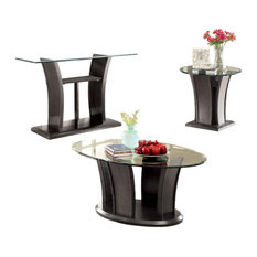3 Piece Glass Top Contemporary Coffee Table Set In Gray