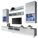 Maxima House - Luna TV Set, White - The LUNA TV set will launch a whole approach to your living room. It starts with 2 TV stands combined in 1 large one. Each of them equipped with a drawer and a door to store your audio-video equipment. Two wall hanging cabinets on the side equipped with LED lightning to emphasize the charm of the decorations. At the top two wall shelves are available for free placement.