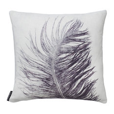 Feather Cushion, Grey, Square
