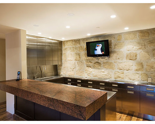 Industrial home bar with stainless steel worktops design ideas pictures inspiration Home bar furniture san diego