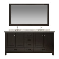 "Ariel Cambridge 73"" Double Sink Vanity Set, Espresso"