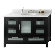 "Ronbow Athena 48"" Solid Wood Vanity Base Cabinet, Black"