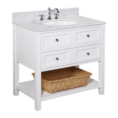 Kitchen Bath Collection New Yorker Vanity White Carrara Marble Top 36