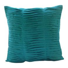 The HomeCentric - Aqua Blue Textured Pintucks Pillow Covers, 20x20 Silk Pillowcase, Gentle Waves - Decorative Pillows