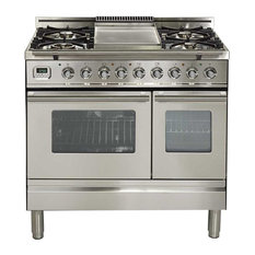 Ilve 36 Inch Dual Fuel Freestanding Range, Stainless Steel, Double Wall Oven: Ye