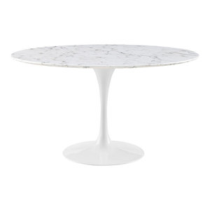 """Modway Modway Lippa 54"""" Artificial Marble Dining Table, White"""