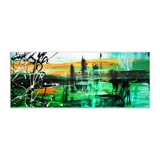 Green Valley 2, Green & Black Abstract Painting, Giclee on Metal