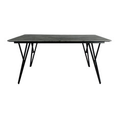 Botany Bay Modern Dining Table With Hairpin Legs Tripura Marble/Black