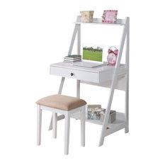 2 Piece White Big Drawer Storage Shelf Student Writing