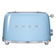 Smeg 50's Retro Style Two Slice Toaster, Pastel Blue
