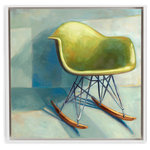 "Laura Browning Art - ""Eames Rocker"" Giclee Print, 13""x13"", Canvas, Framed - Available framed or unframed."