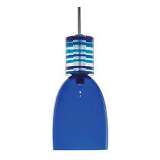 1-Light Monorail Pendant, Blue And Satin Nickel