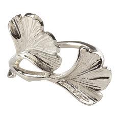 Ginko Design Napkin Ring, 2 Colors, Set of 4, Silver