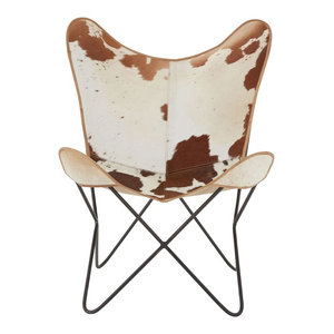 Brown Cow Hide Leather Butterfly Chair With Iron Frame