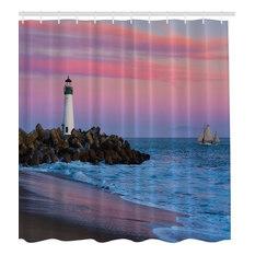 santa cruz lighthouse at sunset fabric shower curtain shower curtains