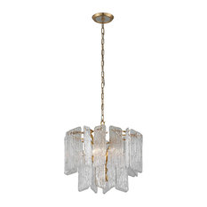 Piemonte 4-Light Chandelier, Royal Gold With Handmade Clear Glass Shade