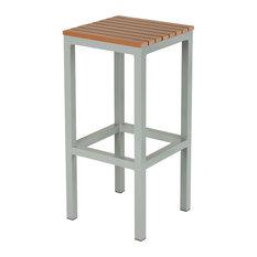 Lola Aluminum Outdoor Backless Barstool, Poly Wood, Silver/Teak