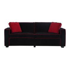 Charming Divano Roma Furniture   Modern Two Tone Colorful Velvet Fabric Living Room  Sofa, Black