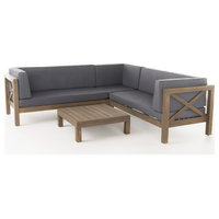 GDF Studio 4-Piece Brava Patio Wooden Sectional, Water Resistant Cushions Set, D