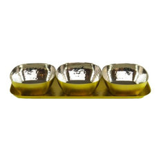 Classic  Touch - Classic Touch Gold Rectangular Tray with 3 Bowls Set - Condiment Sets
