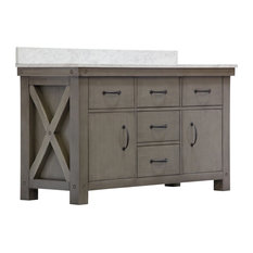 "60"" Grizzle Gray Double Sink Vanity With Carrara White Marble Counter Top"