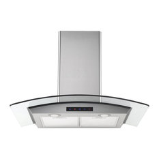 """30"""" Stainless Steel Wall Hood With Arched Glass"""