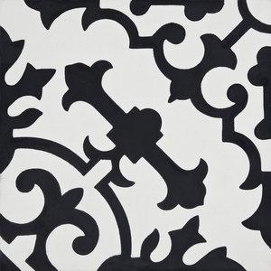 Arfoud Handmade Cement Tile, Black/White, Sample