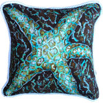 "My Island - Starfish Pillow in shades of teal, aqua, turquoise and brown, 20 x 20"" - Pretty Starfish Pillow Is All Cotton, Trimmed With Nautical White Braid, Zipper On Back Enclosure Cotton/Poly Insert. Suitable For Indoors Or Covered Outdoors.  Shades Of Teal, Aqua, And Brown make this pillow a real treasure and quite unique  You can easily unzip the back and remove the insert and toss the cover in the washing machine!  Large and lovely at 20 x 20"""