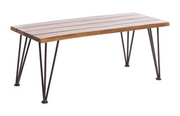 GDF Studio Zephyra Rustic Finished Iron and Acacia Wood Coffee Table