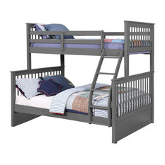 Carthew Convertible Twin Over Full Bunk Bed, Grey, Bed only