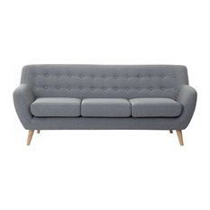 Beliani Llc Motala Tufted 3 Seater Sofa Light Grey Sofas
